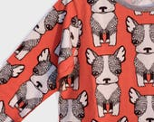 4-5 yr Long Sleeve Dress, Dog Print Dress, Girls Skater Dress, Bright Toddler Dress, Unisex Kids Clothes, Modern Baby Clothes, Animal Print