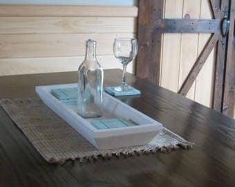 Wooden table tray - coaster set- centerpiece tray - blue and white table tray - candle holder