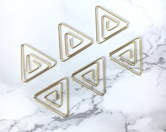 Set of 6 Gold Triangles Paperclips - Gold Triangles Paperclip Bookmarks - Tropical Cute Stationery - Petit Bout de France