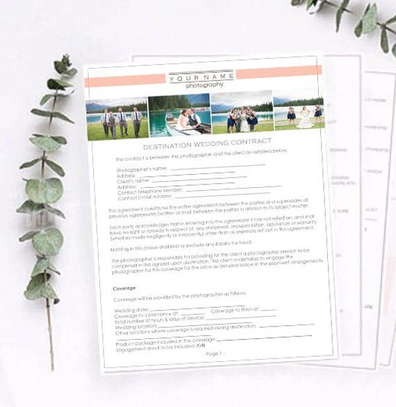 Destination Wedding Photography Contract