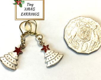 Tiny White Christmas Tree Earrings, Miniature and Delicate Party Earrings, Great Xmas Earrings, Girlfriend Gift, Teacher Gift, Student Gift