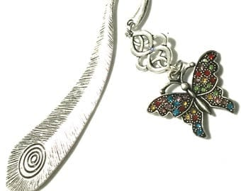 Coloured Rhinestone Butterfly Bookmark, Valentine Gift, Horse and Horshoe Antique Silver Bookmark, Bookworm Gift, Free Local Shipping