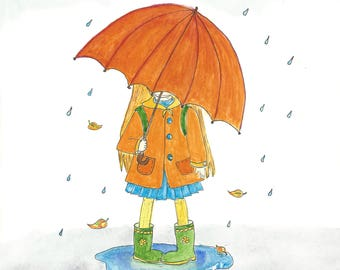 Little girl with umbrella - postcards set