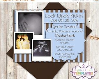 SALE Personalized Printable Invitations | Look Who's Kicking | Baby Shower | Birth Announcement | Photo Card | #12