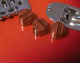Set of 3 Hand turned Zebra Wood  Guitar Knobs