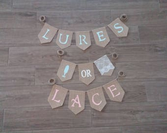 Lures or Lace Gender Reveal Banner, Lures or Lace, Gender Reveal Banner, Gender Reveal Party Decor, Boy or Girl Baby Shower Sign Banner