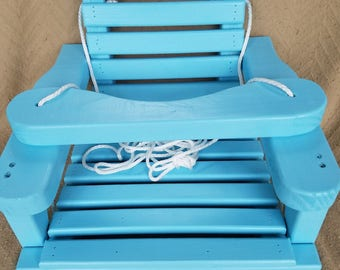 Old Fashioned Wooden Baby / Toddler Swing, Kids Patio Swing, Outdoor Tree Swing...Memory Maker :) ...Painted Aqua
