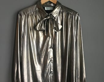 SMALL Gold Blouse , 1980s , size small