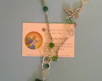 Green agate necklace pendant with citrine