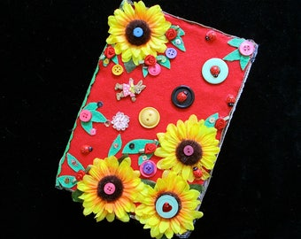 Journal,notebook,cute journal,sunflower,Holiday gift,boho,unique journal,flower power,gift for a teen,sunflower wedding,teacher gift,hippy