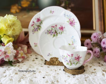 Beautiful Trio Shelley Stocks Tea Cup, Saucer, and Bread/Salad Plate-Good Conditions
