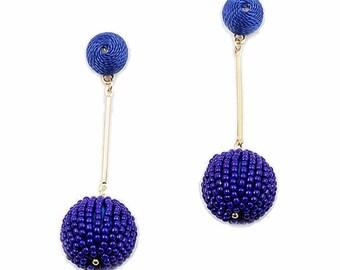 2 -Tiers Of Cobalt Blue Beaded Disco Ball Drop Statement Earrings