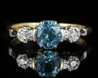 Antique Edwardian Blue Zircon Diamond Trilogy Ring 18ct Gold Platinum