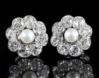 Diamond Pearl Cluster 18ct Gold Earrings
