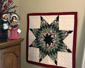 Lone Star, Christmas Lone Star, Star Wall Hanging, Star Quilt, Hand Quilted, Christmas Quilt, Quilted Wall Hanging, Table Topper, Texas Star