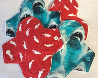 Reusable menstrual pads, pantyliners, Cloth Sanitary Protection - Shark Week, light, medium and heavy flow weights. Sanitary towels