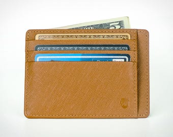 Front pocket wallet, Minimalist Wallet, Men's Leather Wallet, in Saffiano leather. RFID-blocking, Designed in Sweden, Free US Shipping