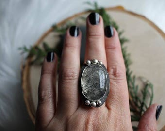 Rutilated Quartz ring size 9.25