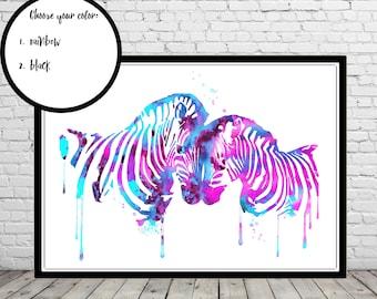 Zebra, Zebra in love, love art, zebra print, watercolor zebra, watercolor print zebra art, safari print, safari watercolor (3460,2674b)