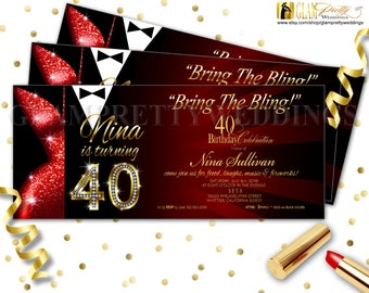 Red & Gold Glitter 40th Birthday Invitation Las Vegas Diamond Numbers Black Tie Party Dress - Printable or Printed - Style Name: LESLIE