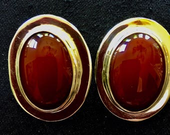 Carnelian and Sterling Silver Clip Earrings