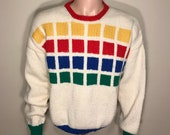 Vintage Colorblock sweater // hand knit // colorful blue red green // vintage 70s 80s // pullover adult size // party costume funny