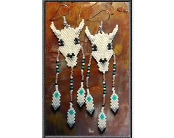 Cow Skull & Feathers 2 - Brick Stitch Earrings Bead Pattern