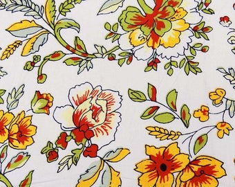 """Floral Print, White Cotton Fabric, Sewing Crafts Accessories, Decor Fabric, 44"""" Inch Indian Fabric By The Yard ZBC7989A"""