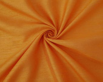 """Orange Poly Dupion Silk Fabric, Sewing Crafts, Upholstery Fabric, Modern Fabric, 44"""" Inch Fabric By The Yard PZDS2A"""