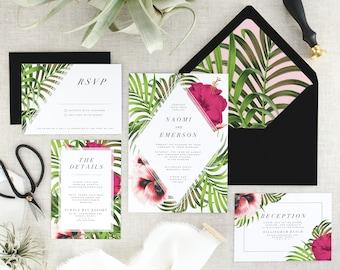 Tropical Wedding Invitation Suite - Destination Wedding Invitations - Floral Wedding Invitation Set - Modern Wedding Invites - Set of 10