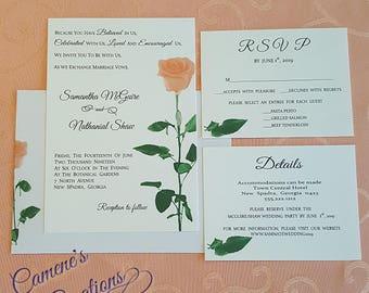 Single Peach Rose Wedding Invitation Set