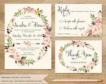 Floral Wedding Invitation. Printable Wedding Invitation. Rustic Invitation. Boho Wedding Invitation. Bohemia Wedding. Boho Wreath Invitation