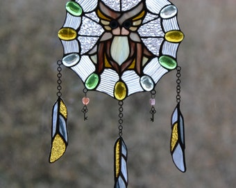 Owl Suncatcher Dreamcatcher Tiffany mosaic window pendant Handmade wall hanging. Glass dream catcher. Protective amulet Decor Stained glass