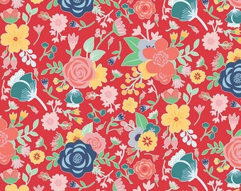 SALE Midnight Blooms Main Red - Riley Blake Designs - Floral Flowers - Quilting Cotton Fabric - choose your cut