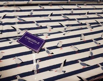 Seagull stripes , Cotton Lycra Jersey Knit Fabric