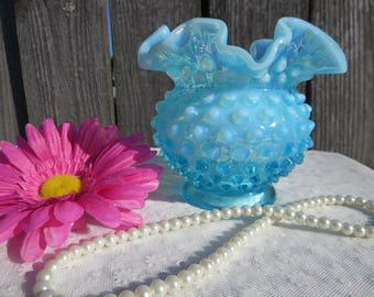 Fenton Blue Hobnail Vase, Blue Opalescent Hobnail Bowl, Valentines Day Gift, Ruffled Fenton Vase, Blue Art Glass, Collectible Fenton Vase