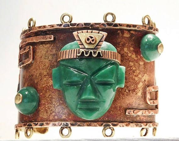 Mexican Cuff / Malachite Cuff / Mayan Aztec Warrior Face / Vintage 1960s Mexico Cuff / BOHO Chunky Big Bold Cuff / Copper Brass Jewelry