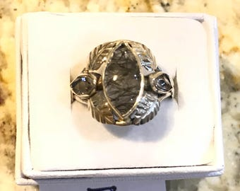 Black Rutilated Quartz and Herkimer Diamond Ring Size 7