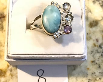 Larimar, Amethyst and Blue Topaz Ring Size 8