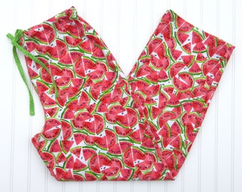 Women's Flannel Pajama Pants - Red and Green Watermelon Slices - Coordinating Green Dot Drawstring - Elastic Waistband