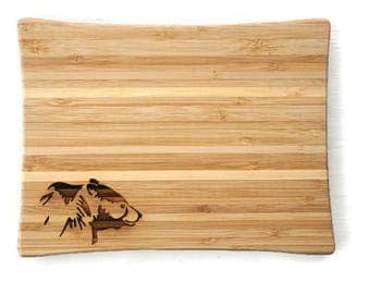 Bamboo Cutting Board Small, Bear Cutting Board, Camp Decor, Woodland Kitchen  Decor,