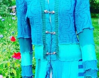 Upcycled sweater coat, pixie coat, elf coat, mermaid, festie, patchwork, Goddess coat, priestess coat, faerie coat