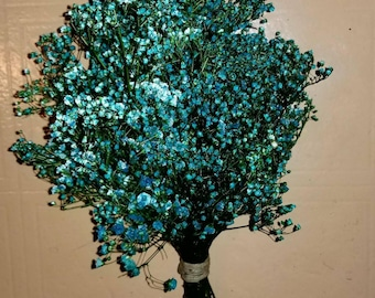Turquoise Simple Baby's Breath Bouquet Bridal Bouquet Dried Baby's Breath Bouquet Elegant Wedding Dyed Floral Bouquet