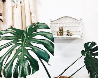 Vintage white wicker shelf / wicker wall shelf