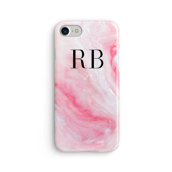 Custom initial marble pink - iPhone 7 case, samsung s7 case, iphone 7 plus case, iphone se case 1P025