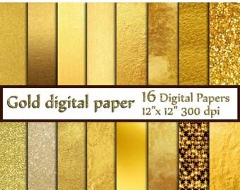 """40%SALE Gold Foil Digital Paper: """"GOLD DIGITAL Paper"""" Metallic Gold Digital Paper Gold Paper Gold Backgrounds Digital Gold Foil Paper"""