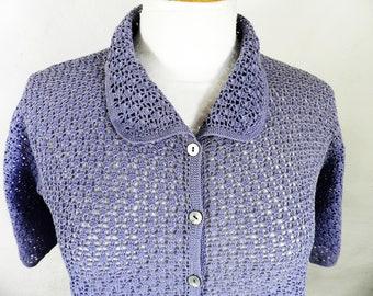 Vintage Lavender Purple Ladies Crochet Top    Size M