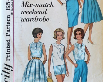 Vintage Sewing Pattern - Uncut 1960s Dress, Jacket, Blouse, Pants, Shorts, and Skirts Pattern - Simplicity 4808