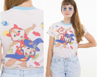 Rescue Rangers! 1980s Chip and Dale Tee / Capped Collar & Sleeves / Size XS-S