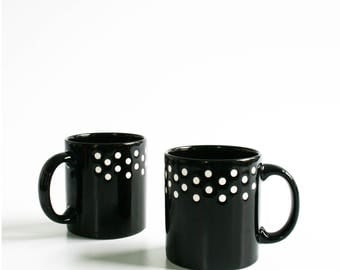 Vintage Waechtersbach Black White Polka Dot Mug W Germany Set of 2